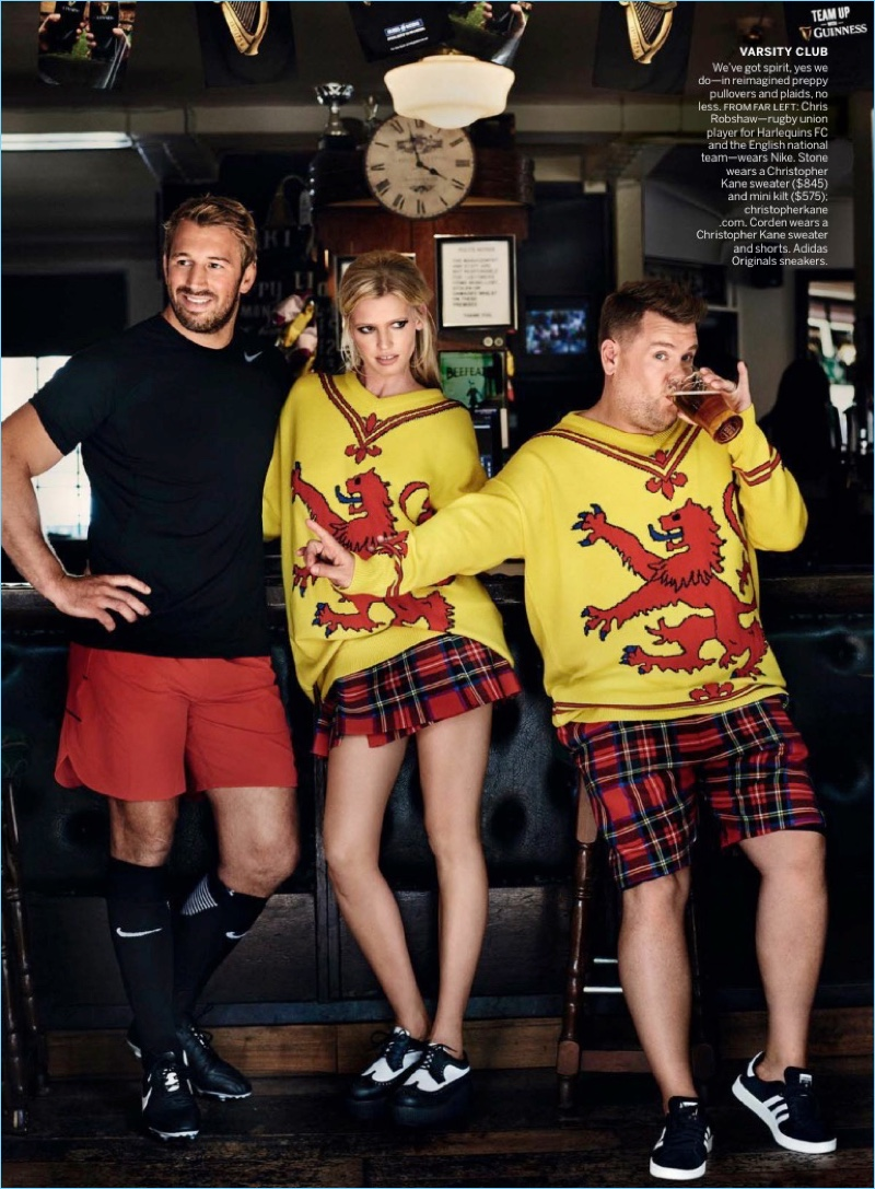 Chris Robshaw joins in on the fun as James Corden wears a Christopher Kane sweater and shorts. His look is complete with Adidas Originals sneakers.