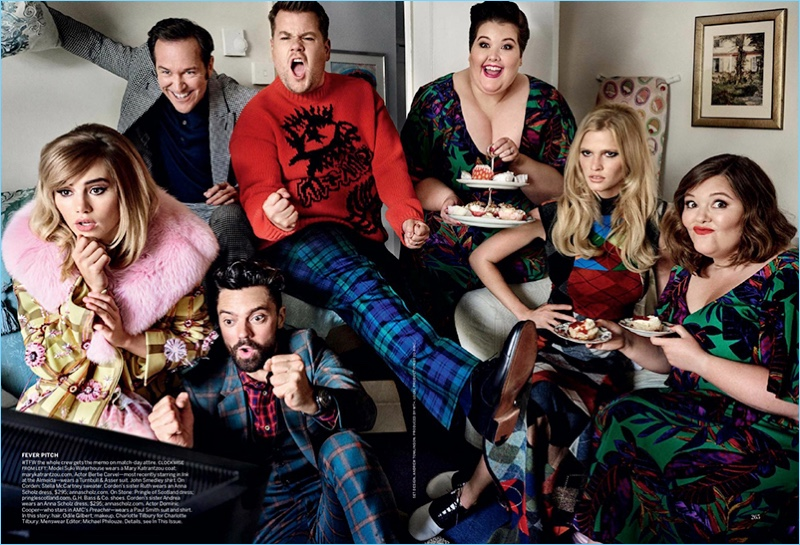 Actors Bertie Carvel and Dominic Cooper watch television with James Corden. Corden's sisters as well as models also appear in the image. Carvel wears a Turnbull & Asser suit with a John Smedley shirt. Cooper dons a Paul Smith suit and shirt. Finally, Corden rocks a Stella McCartney sweater.