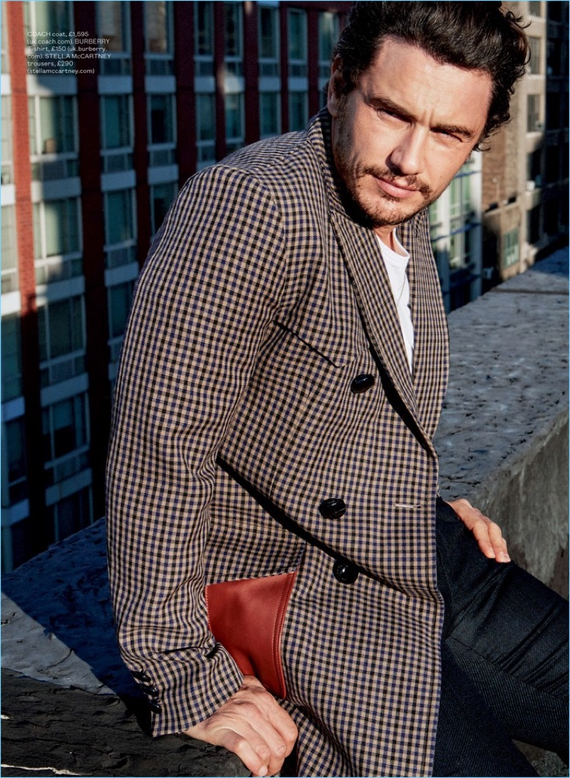 Linking up with ES magazine, James Franco wears a Coach check coat with a Burberry t-shirt and Stella McCartney trousers.