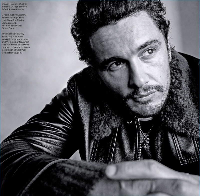 Starring in a new photo shoot, James Franco wears a Coach leather jacket, sweater, and necklace.