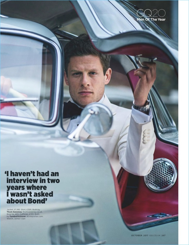 James Norton gets into a vintage car for British GQ.