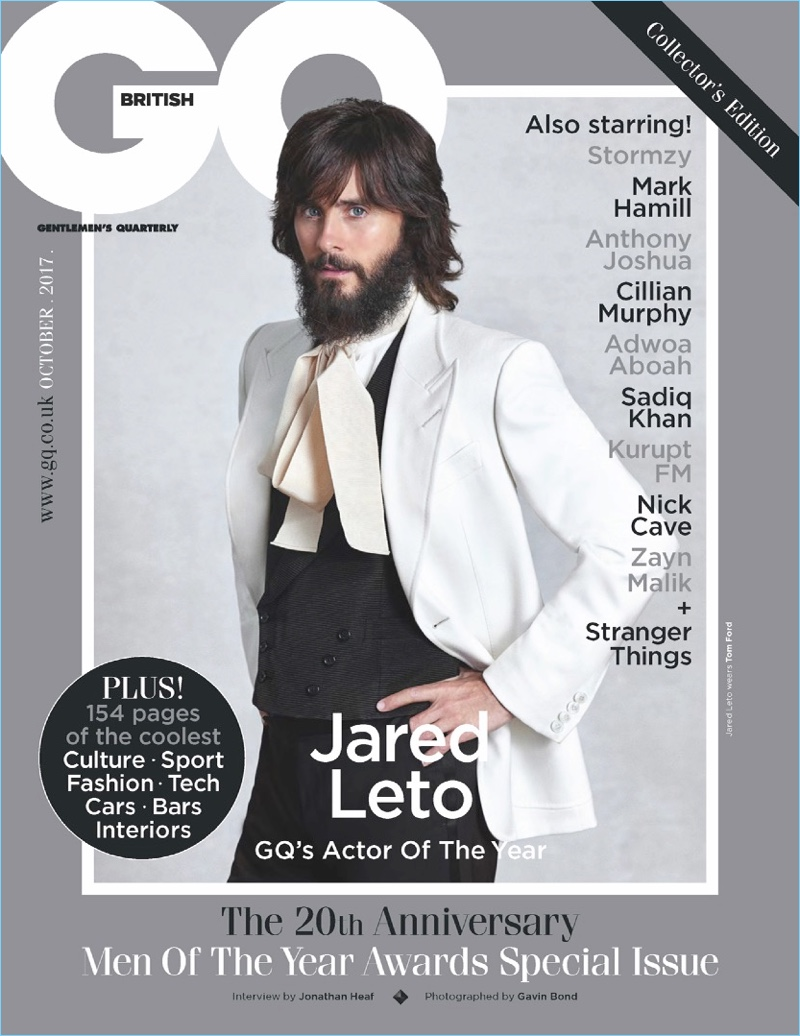 Jared Leto covers the October 2017 issue of British GQ.