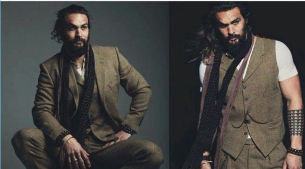 Actor Jason Momoa dons a three-piece suit for DT Spain.
