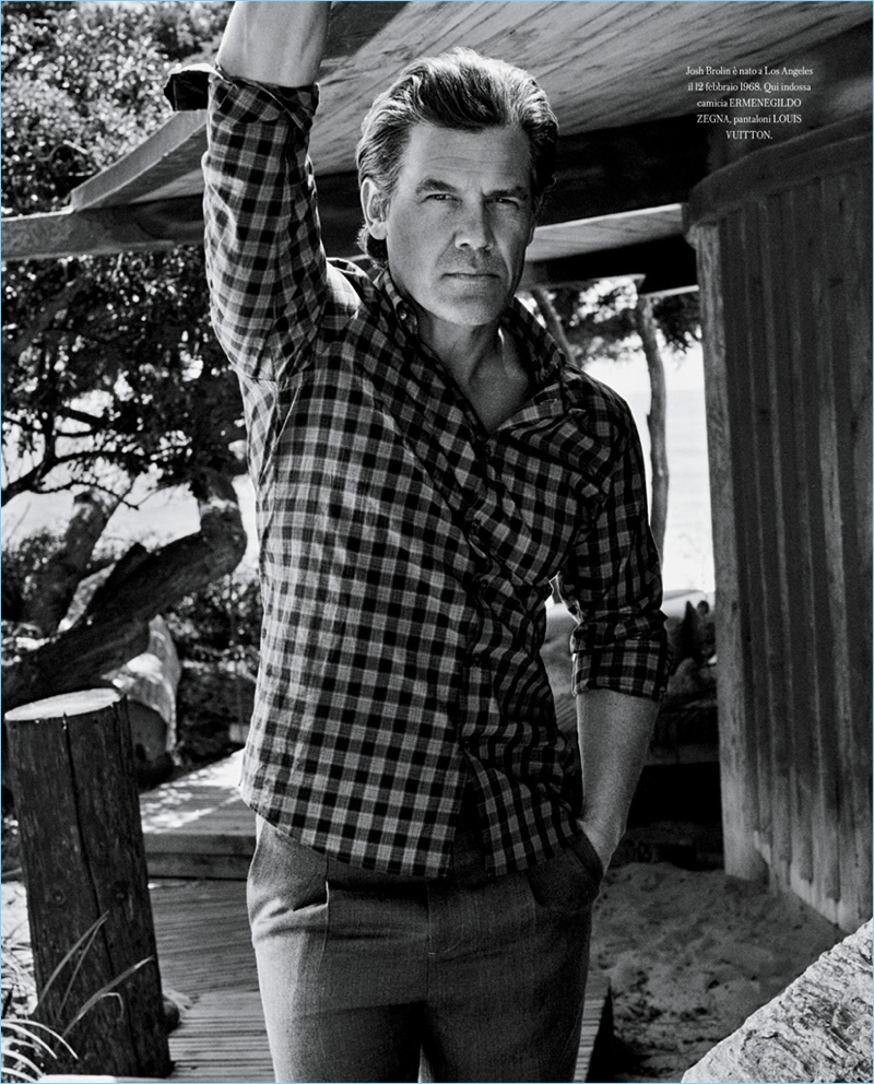 Actor Josh Brolin wears an Ermenegildo Zegna shirt with Louis Vuitton pants.