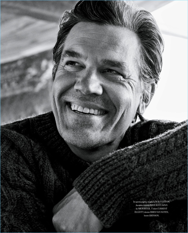 All smiles, Josh Brolin wears a Louis Vuitton sweater.
