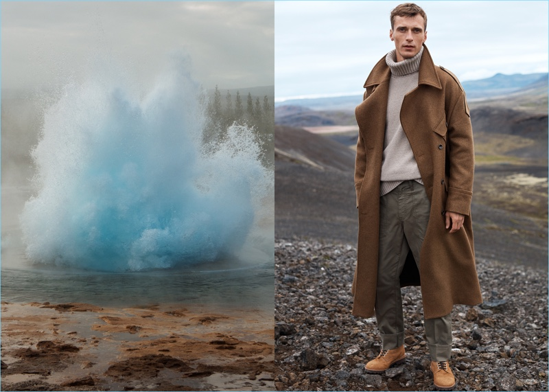 Clément Chabernaud dons a brown coat for Mango's fall-winter 2017 Committed campaign.