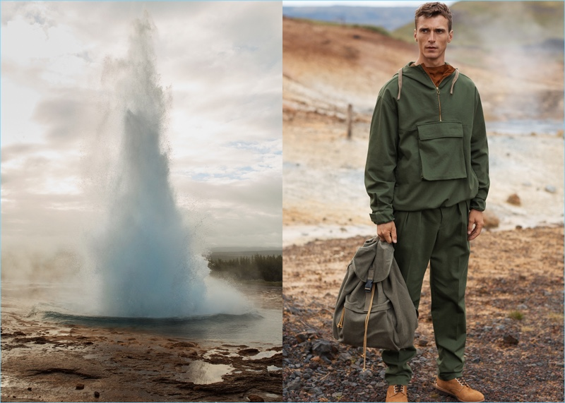 French model Clément Chabernaud travels to Iceland for Mango's fall-winter 2017 Committed campaign.