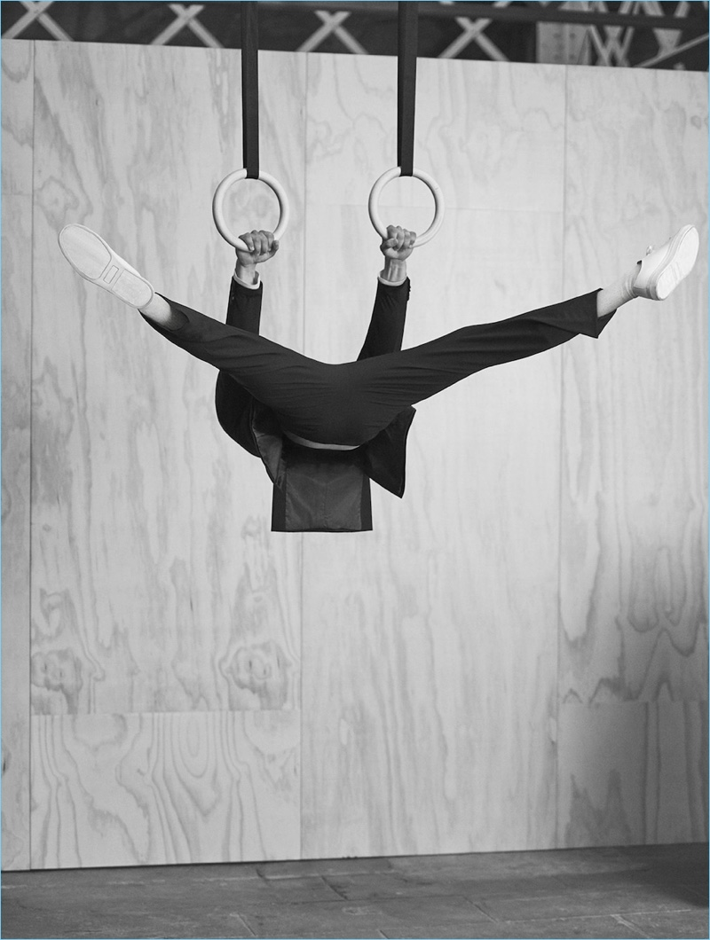 A movement teacher, Julius Hjernø showcases the flexibility of Mango Man's travel suit.