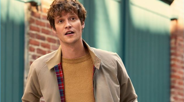Classic style reigns as Matthew Hitt sports a Baracuta G9 Modern Classic jacket. Matthew also wears a camel colored A.P.C. sweater and jeans from Naked & Famous.