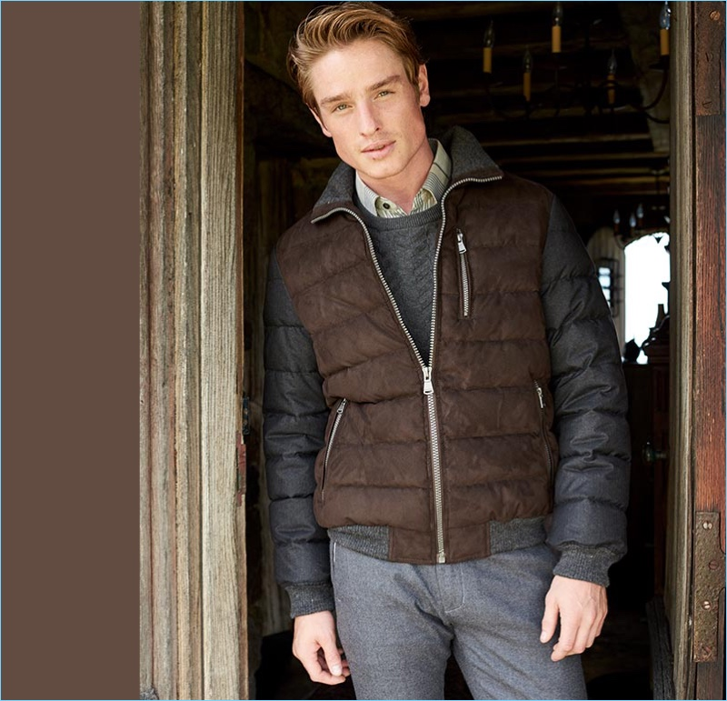 English model Patrick O'Donnell rocks a color blocked quilted jacket from Macy's.