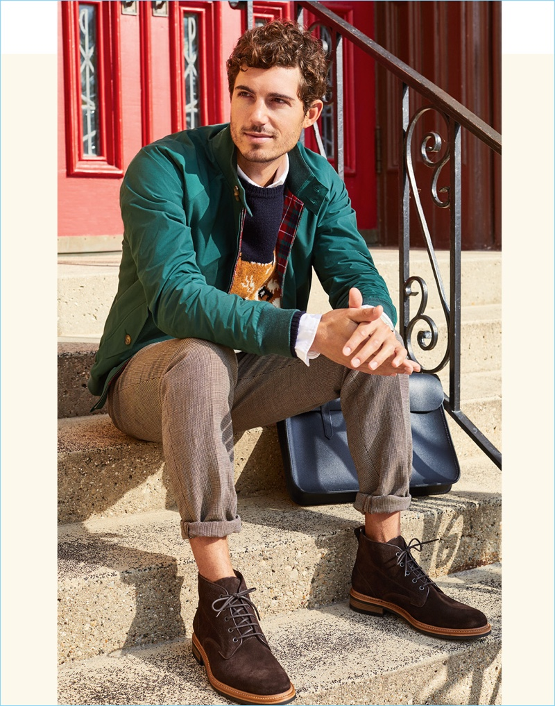 Classic Chukka Style: East Dane showcases how to wear chukka boots. The men's retailer pairs Rag & Bone chukka boots style with the iconic look of Baracuta's G9 Harrington jacket.