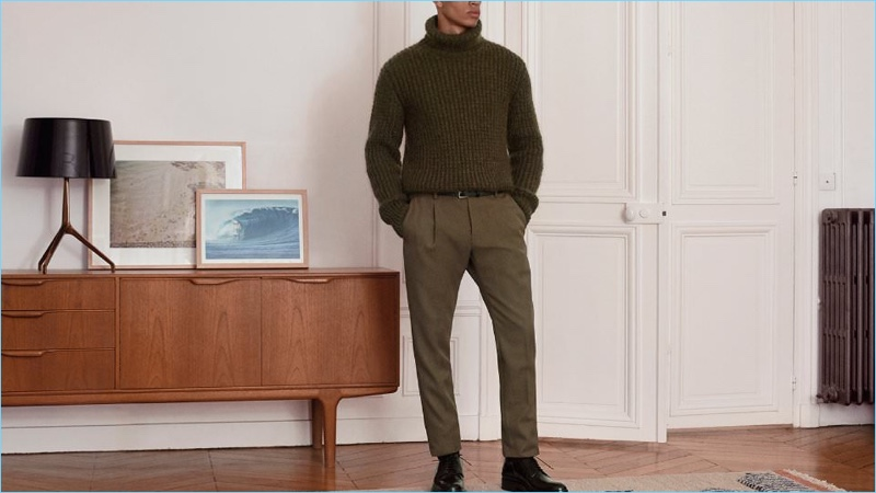 Face the cold with a Berluti waffle-knit turtleneck sweater. Military style reigns with the addition of olive Berluti trousers and Prada leather brogues.