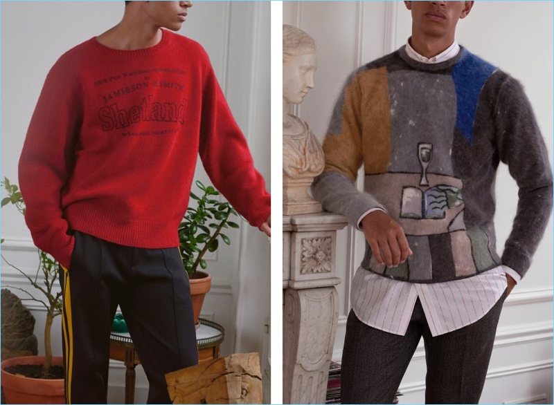 Left: Make a red statement in this oversize Dries Van Noten sweater. It's paired with Joseph striped sweatpants. Right: Take an artsy stand with a printed angora-blend sweater by Prada. The statement sweater complements smart styles like this Balenciaga shirt and Saint Laurent trousers.