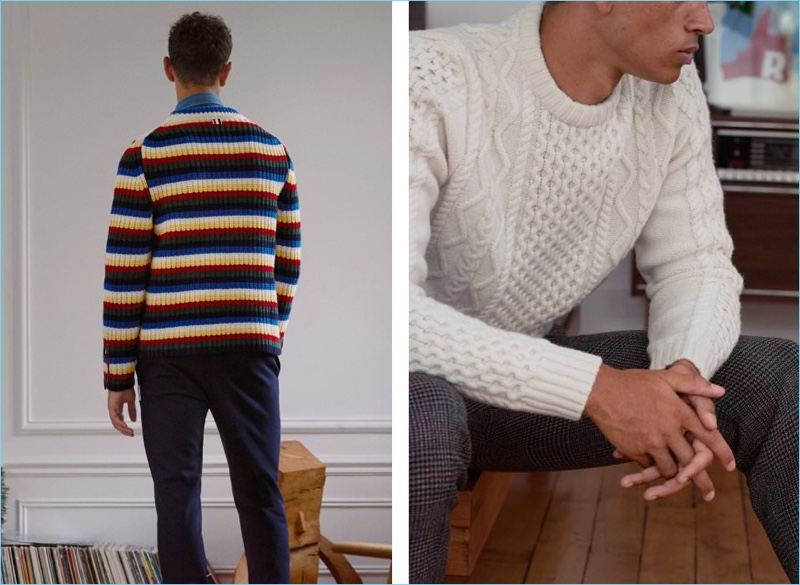 Left: Thom Browne makes a color play with a striped sweater. Mr Porter styles it with a Brunello Cucinelli denim western shirt and Moncler Gamme Bleu trousers. Right: A Norse Projects cable-knit sweater goes great with Solid Homme trousers.