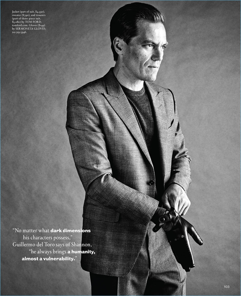 Delivering a side profile, Michael Shannon wears a Tom Ford look with Sermoneta leather gloves.