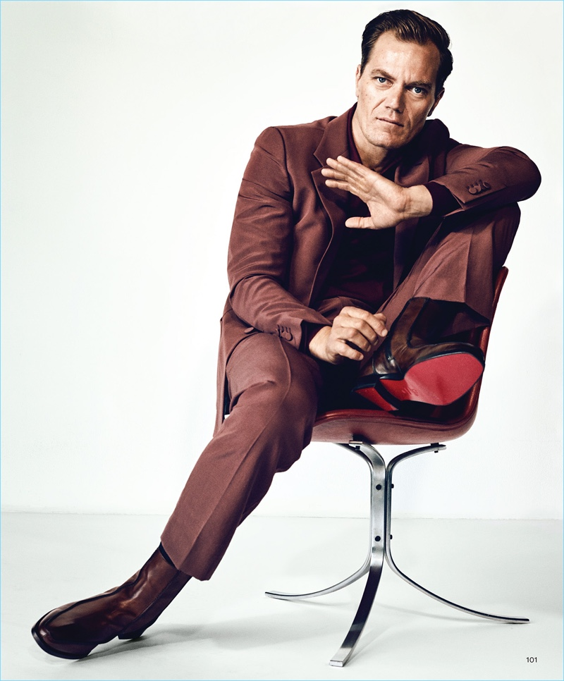 Suiting up in Gucci, Michael Shannon also wears a Charvet polo and Christian Louboutin boots.