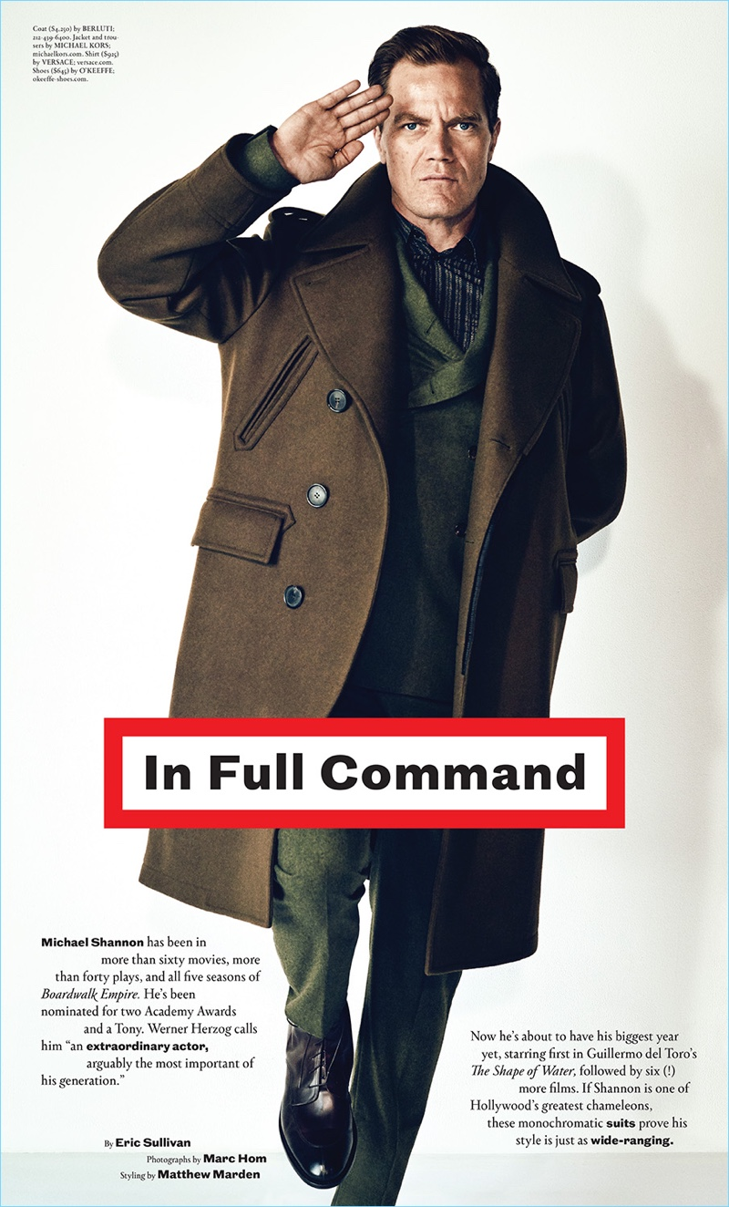 Embracing a military-inspired look, Michael Shannon stars in a shoot for The Big Black Book. He wears a Berluti coat with a Michael Kors suit, Versace shirt, and O'Keeffe shoes.