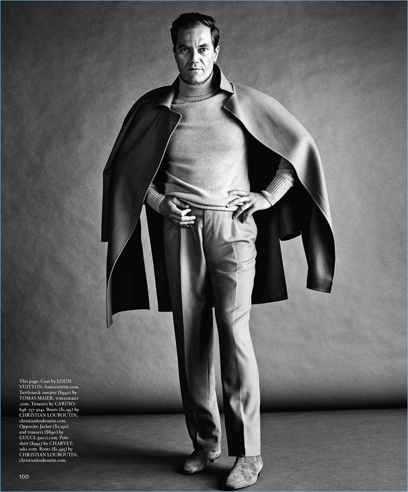 A chic vision, Michael Shannon wears a Louis Vuitton coat and Tomas Maier turtleneck sweater. Shannon also sports Caruso trousers and Christian Louboutin boots.