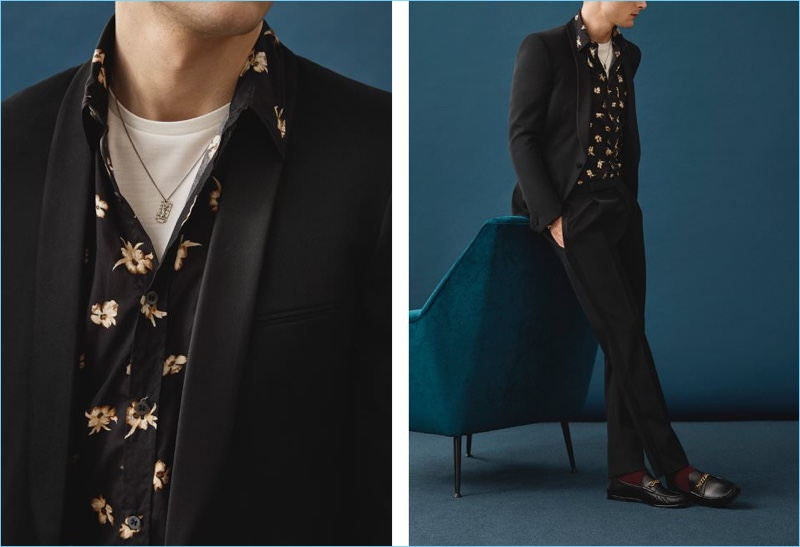 Bring a cool attitude to a Saint Laurent tuxedo with a Dries Van Noten  floral print 68c44729e