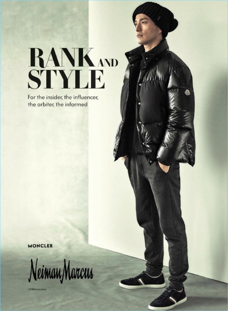 7f914d127cc5 Daisuke Ueda wears a look by Moncler for Neiman Marcus.
