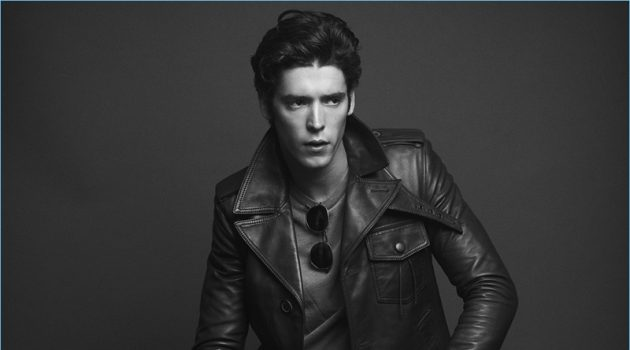 A cool vision, Pico Alexander wears a Lanvin leather jacket with an Officine Generale pullover. He also sports Topman jeans with Salvatore Ferragamo loafers.