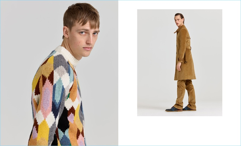 Left: Victor Nylander wears a geometric print sweater by Prada. Right: Rogier Bosschaart sports a corduroy coat and trousers with ankle boots from Prada.