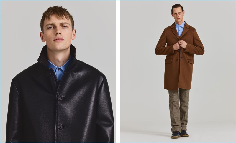 Pictured left, Victor Nylander rocks a leather coat with a shirt from Prada. Right: Rogier Bosschaart models a tailored Prada look.
