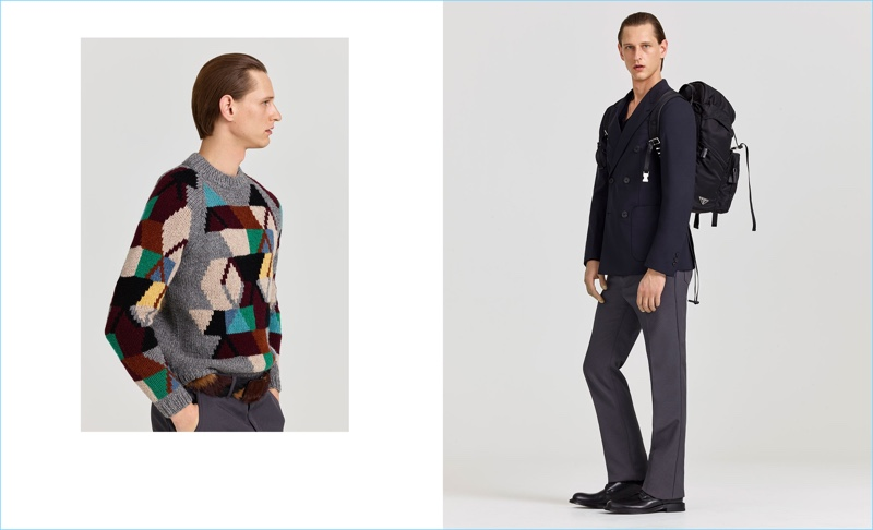 Left: Rogier Bosschaart wears a geometric Prada sweater with trousers and a fur belt. Right: Victor Nylander dons the latest fashions from Prada.