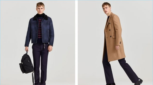 Left: Embracing smart casual style, Victor Nylander wears Prada. Right: He sports a double-breasted camel coat with a sweater and other pieces from the label.