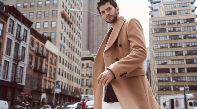 Reiss makes a case for a menswear classic with its cashmere blend double-breasted overcoat $710 in camel.