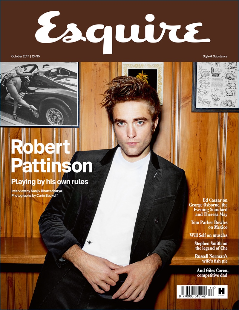 Robert Pattinson covers the October 2017 issue of Esquire UK.