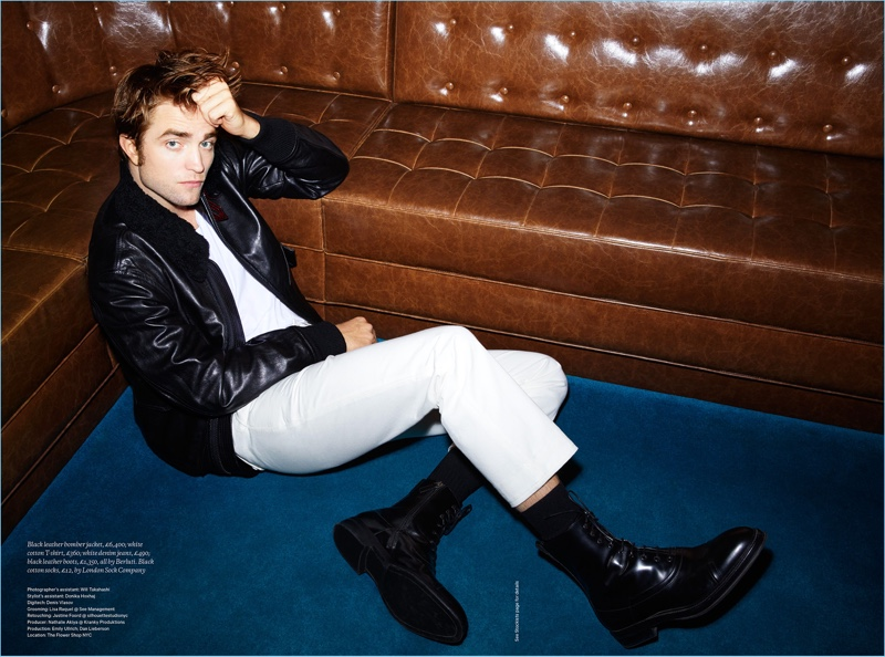 A cool vision in a leather bomber jacket, Robert Pattinson wears Berluti.