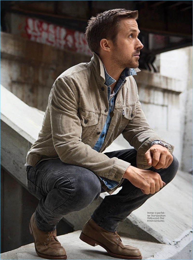 Going casual, Ryan Gosling appears in a photo shoot for InStyle Men Germany.