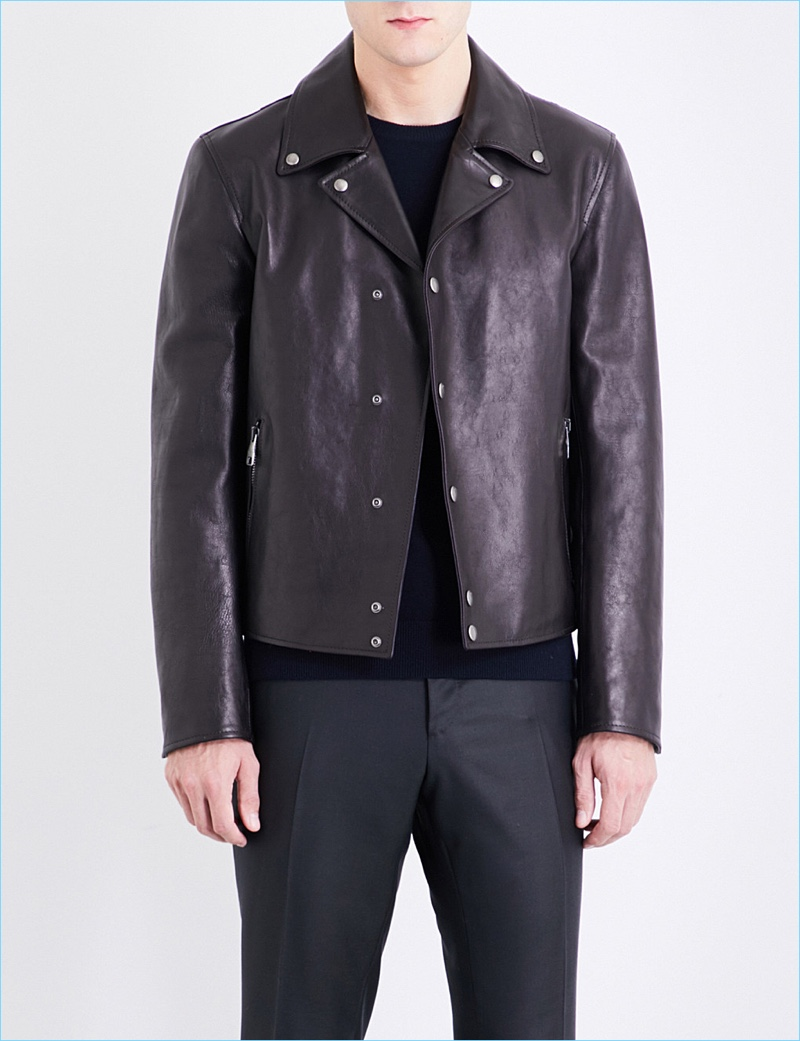 Salvatore Ferragamo Biker Collar Leather Jacket
