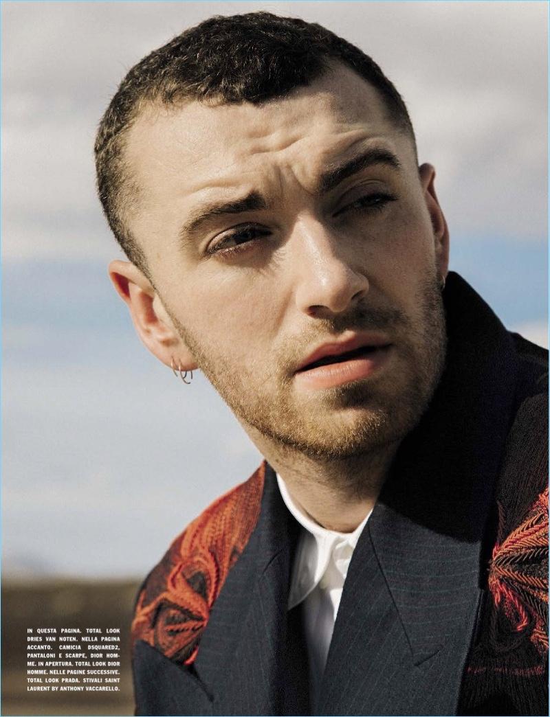 Starring in a L'Uomo Vogue photo shoot, Sam Smith wears Dries Van Noten.
