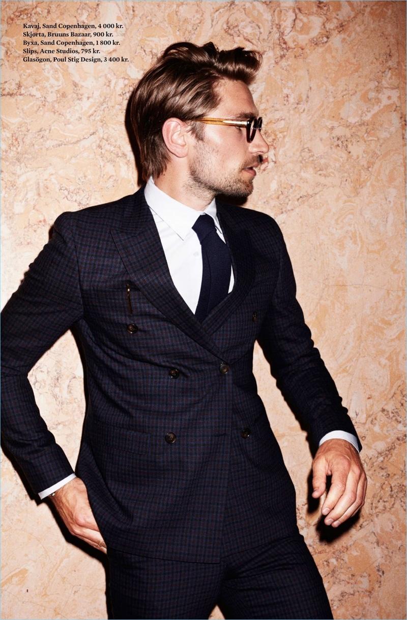 Texas Olsson Models Sleek Suits for King Magazine