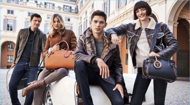 Sasha Knezevic, Megan Blake Irwin, Arthur Gosse, and Sam Rollinson appear in Trussardi's fall-winter 2017 campaign.