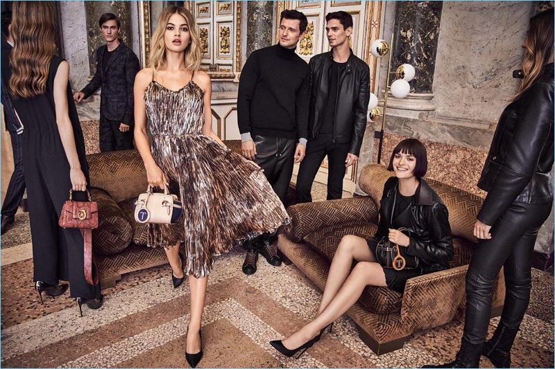 Ready for a party, Megan Blake Irwin, Sasha Knezevic, Arthur Goose, and Sam Rollinson star in Trussardi's fall-winter 2017 campaign.
