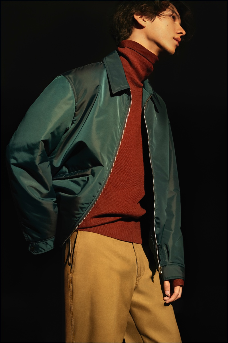 Color Theory: Add color to your fall wardrobe with UNIQLO U. Here, the brand brings together a green blouson jacket $69.90, red merino-blend high neck sweater $39.90, and brown wide ankle-length pants $39.90.