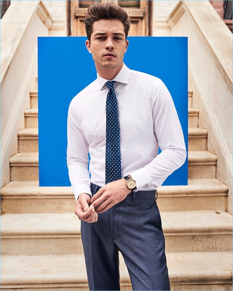 Brazilian model Francisco Lachowski dons a smart shirt and tie for Vince Camuto.