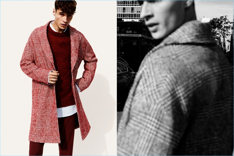 Seeing red, Adrien Sahores dons a Zara red coat, sweater, and trousers.