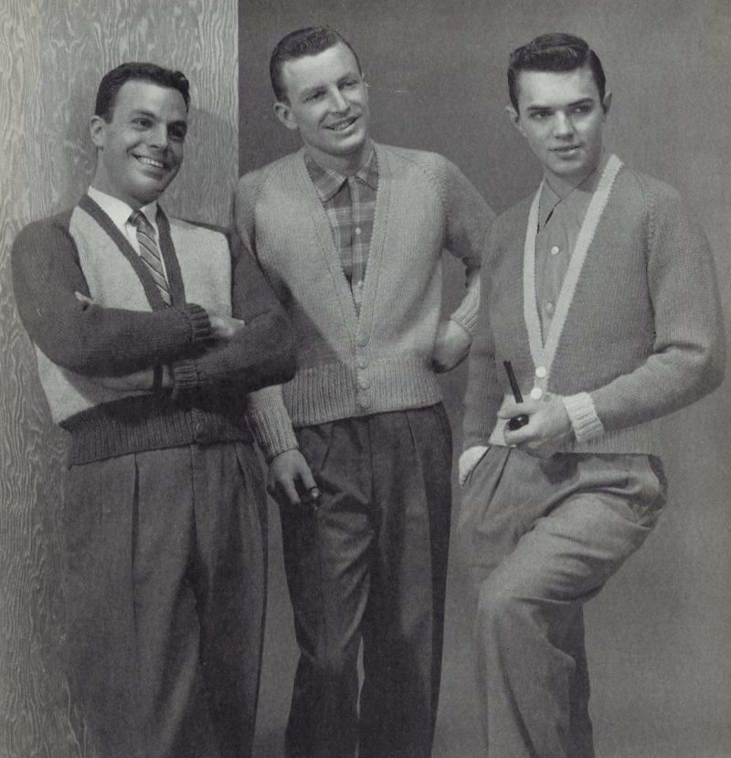 Men wear popular sweater styles of the 1950s.