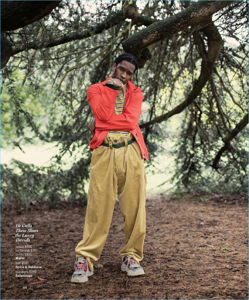 Embracing an oversize look, A$AP Rocky wears Marni clothes. He accessorizes with a Dolce & Gabbana belt and Balenciaga sneakers.