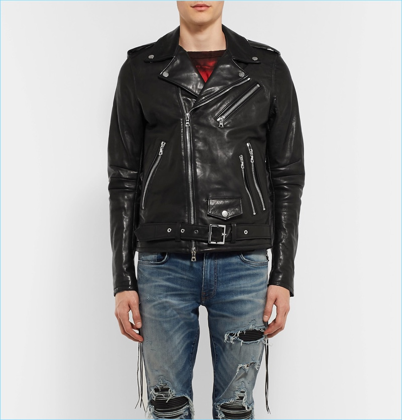 AMIRI Rider Slim-Fit Tasseled Leather Biker Jacket