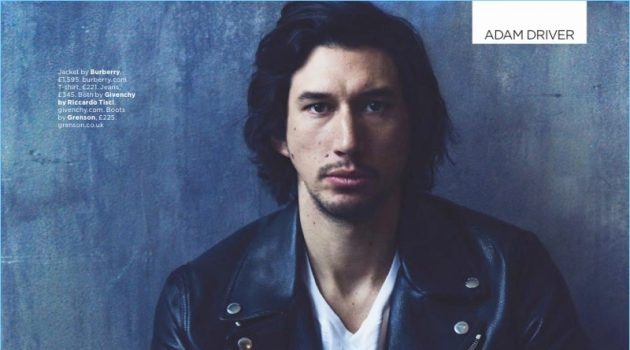 Actor Adam Driver wears a leather biker jacket by Burberry. He also wears a t-shirt and jeans by Givenchy with Grenson boots.