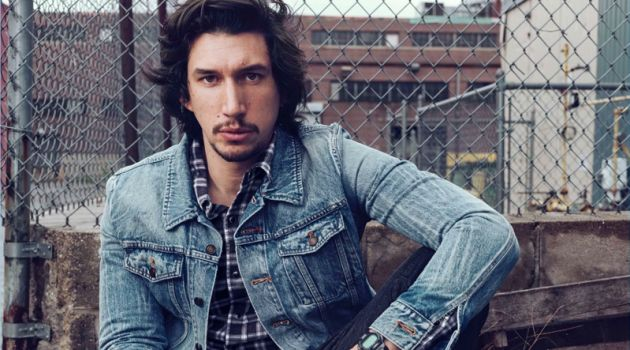 Connecting with Esquire, Adam Driver wears casual clothes by Saint Laurent.