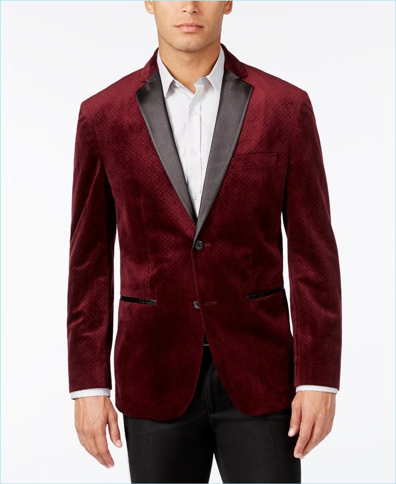 Alfani Classic-Fit Textured Velvet Blazer