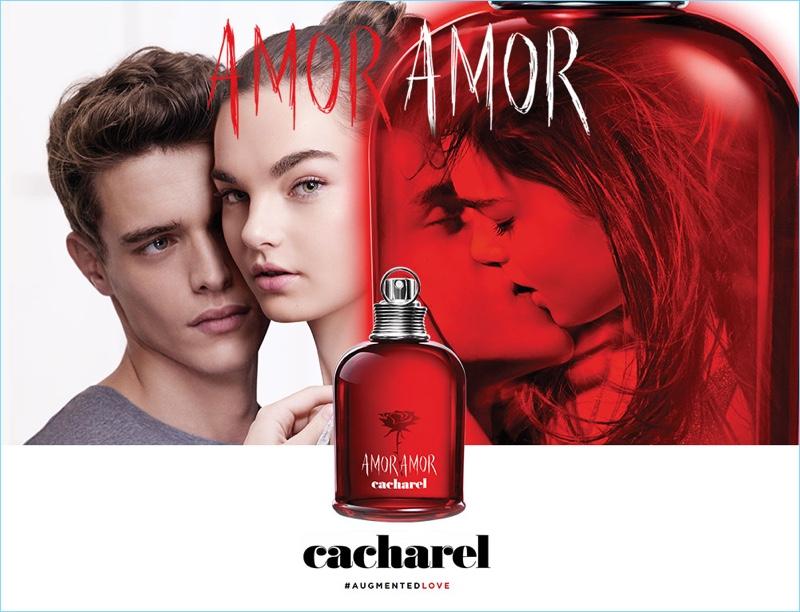 Jordy Baan and Ellen Burton front Cacharel's Amor Amor fragrance campaign.