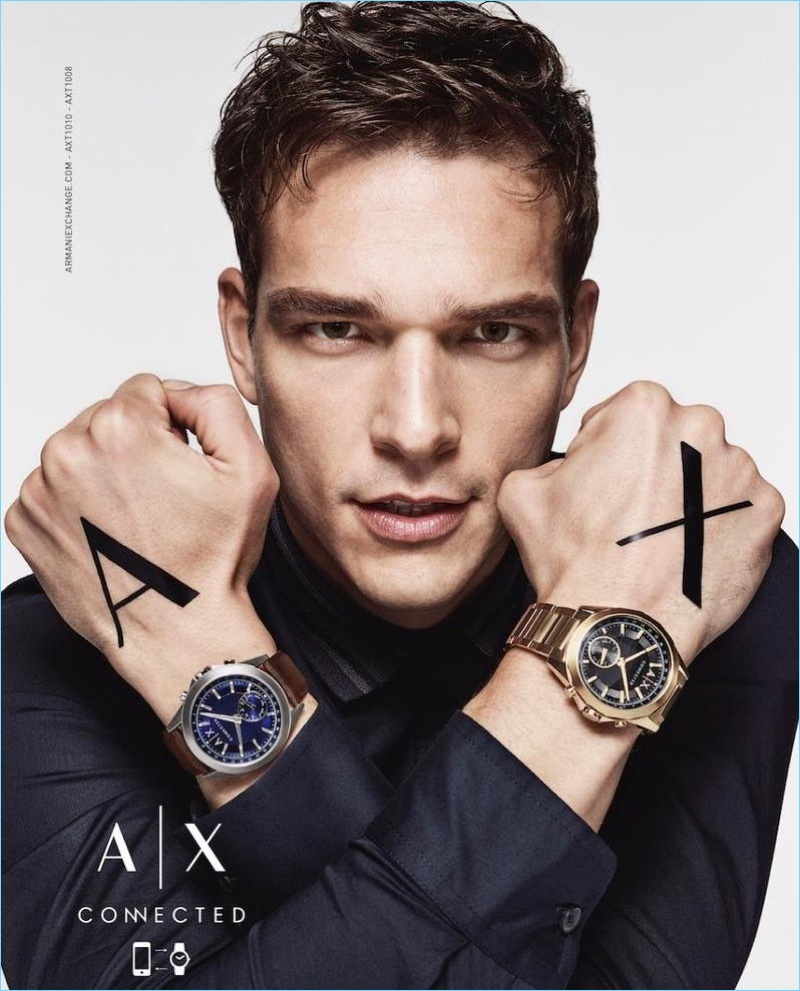 Alexandre Cunha fronts Armani Exchange's fall-winter 2017 watch campaign.