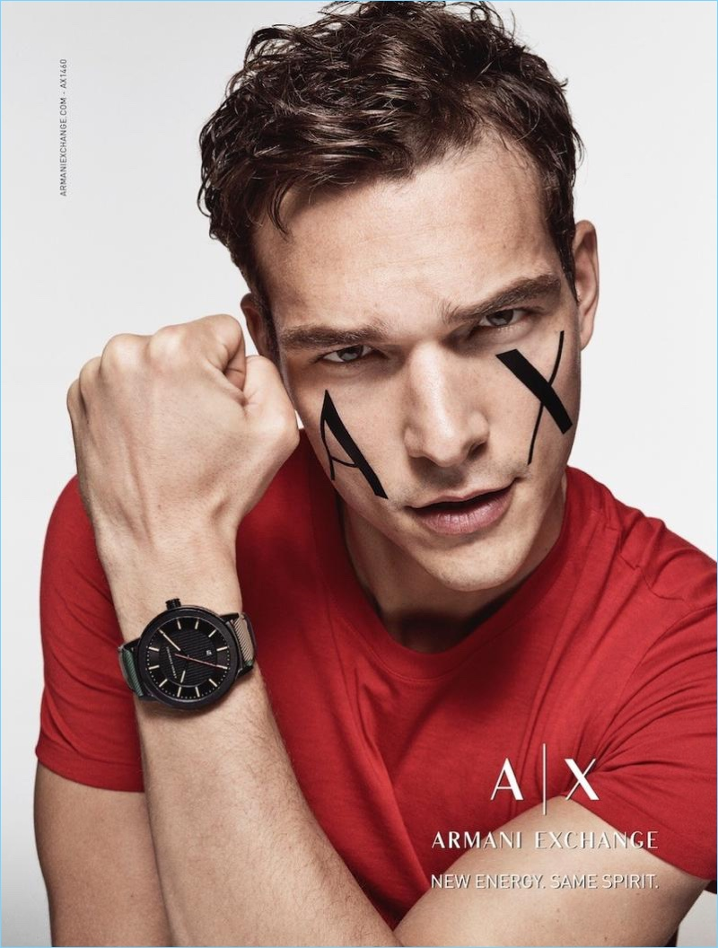 Model Alexandre Cunha appears in Armani Exchange's fall-winter 2017 watch campaign.